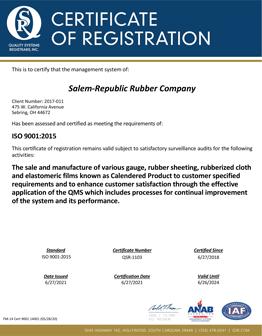 Salem-Republic Rubber Company ISO 9001:2015 Certificate